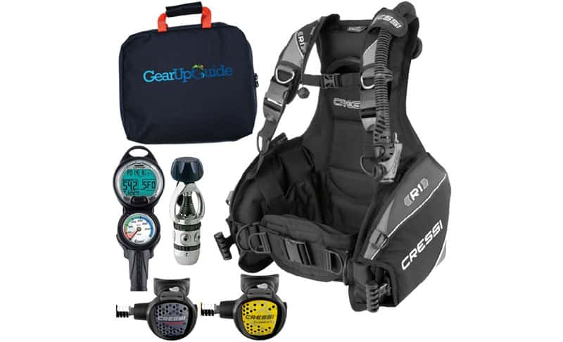 Cressi R1 BCD Leonardo Dive Computer AC2 Compact Regulator Set GupG Reg Bag Scuba Diving Package