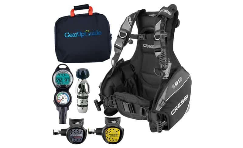 Cressi-R1-BCD-Leonardo-Dive-Computer-AC2-Compact-Regulator-Set-GupG-Reg-Bag-Scuba-Diving-Package