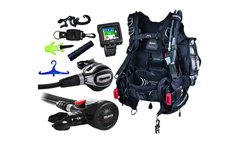 Mares-Scuba-Diving-Computer,-Regulator-Set,-Octo-Complete-Premium-Package-w-BCD
