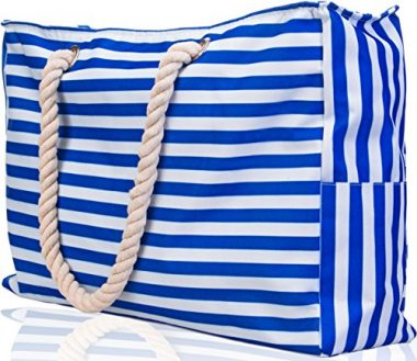 X-LARGE Shoulder Beach Tote Bag has Built-In Keyholder