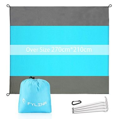 Oversized Nylon Outdoor Beach Blanket with 4 Stakes By FYLINA