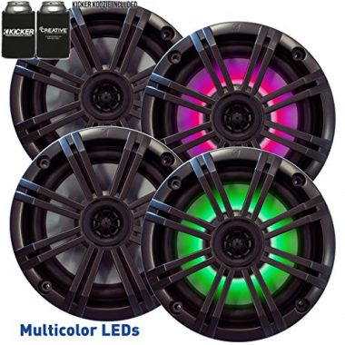 Kicker 6.5″ Charcoal LED Marine Wakeboard Speakers (QTY 4)