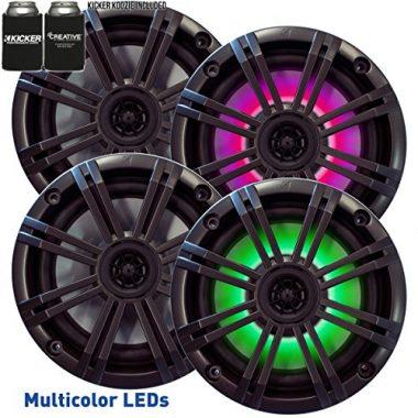 Kicker 6.5″ Charcoal LED Marine Wakeboard Speakers (QTY 4)