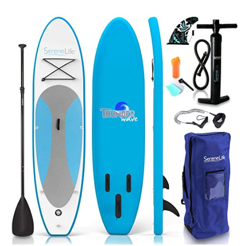 SereneLife Inflatable Fishing Paddle Board
