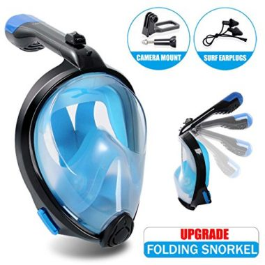 TOPJUM Full Face Snorkel Mask Surface Diving Scuba Gear