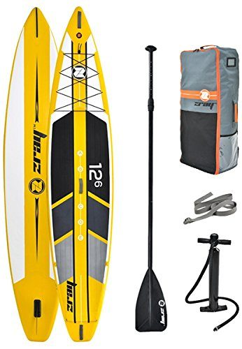 Z-Ray 12'6″ Racing SUP Stand Up Paddle Board Package w/ Pump, Paddle and Travel Backpack, 6″ Thick