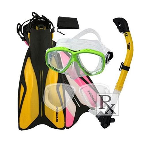 Promate Snorkel Scuba Mask w/Rx Lens and Dive Fins-SM