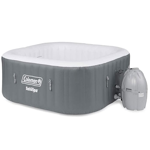 Coleman SaluSpa 4 Person Square Inflatable Hot Tub