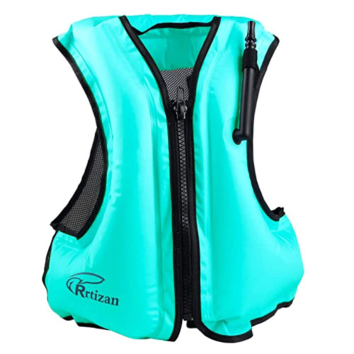 Rrtizan Adult Inflatable Swim Snorkel Inflatable Life Jacket