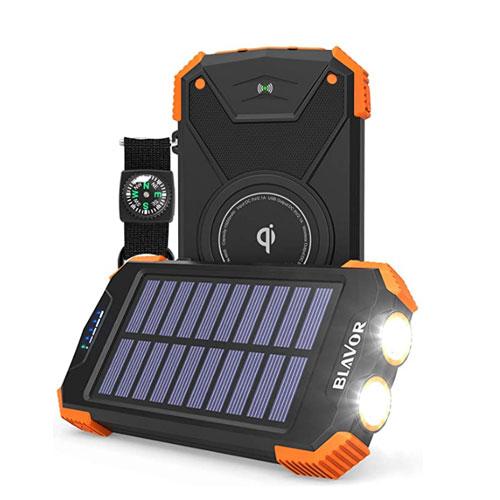 BLAVOR Qi 10,000mAh Portable Power Bank Solar Charger