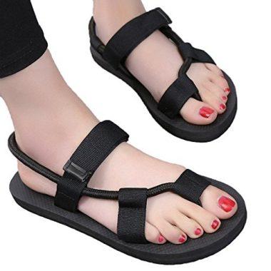 Litfun Summer Black Rope Sandals for Women