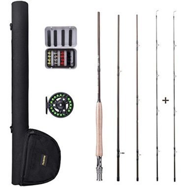 PLUSINNO Lightweight Ultra Portable Fly Fishing Rod and Reel Combo with Rod Case (5-6#)