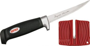 Rapala4 Soft Grip Fillet Knife with Single Stage Sharpener and Sheath