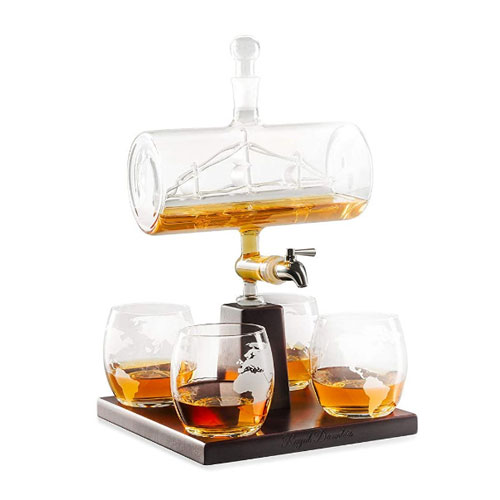 Royal Decanters Sailing Ship Spigot Liquor Dispenser Set