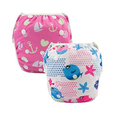 ALVABABY 2pcs One Size Reusable & Adjustable Swim Diapers