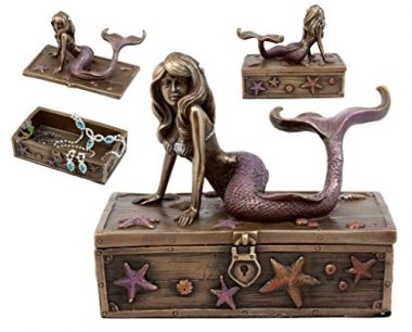 Bronze Metal Mermaid On Treasure Chest By Summit Collection