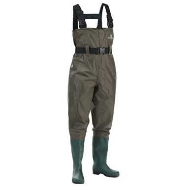 FISHINGSIR Waterproof Insulated Breathable Chest Fishing Waders with Cleated Wading Boots