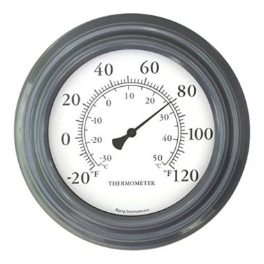 Gray Finish Decorative Indoor and Outdoor Thermometer