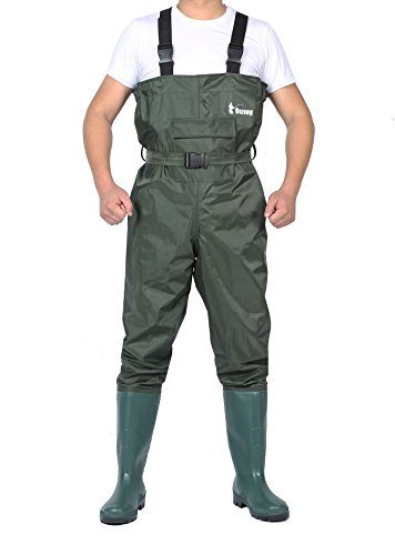 Ouzong Cleated 2-Ply Nylon/PVC Waterproof Boot-foot Chest Waders