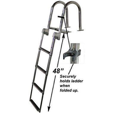 RecPro Marine 4 Step Heavy Duty Rear Entry Pontoon Boat Ladder