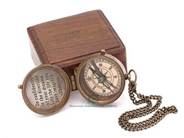 Thoreau's Go Confidently Engraved Compass With Stamped Leather Case By Roorkee Instruments India