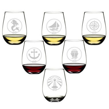 Set Of 6 Stemless Wine Glasses By DaJosie Co.