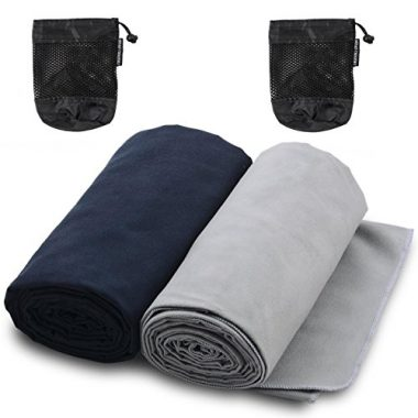 Microfiber Towels for Sports, Travel, Swim, Hiking and Camping, 2-pack by The Friendly Swede