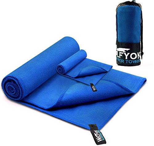 Wolfyok 2 Pack Microfiber Travel Sports Swim Towels