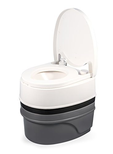 Premium Portable Travel Toilet with Three Directional Flush and Swivel Dumping Elbow by Camco