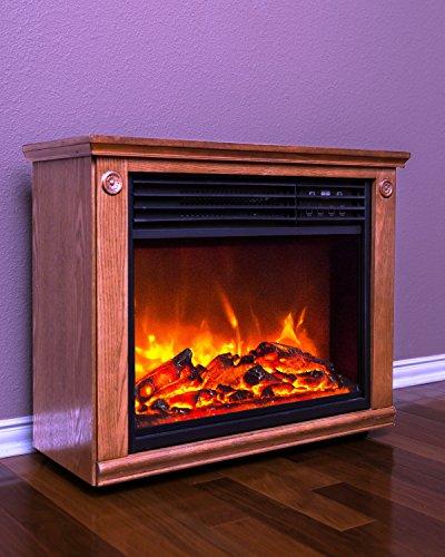 LifeSmart Dark Oak Commercial Fireplace Infrared Heater
