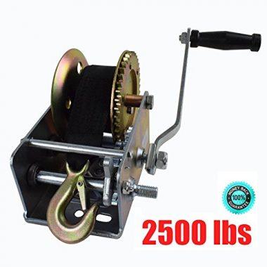 Hand Winch 2500lbs Nylon Strap 2-Gear by M-online