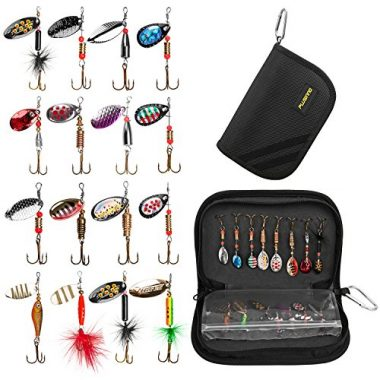 Plusinno Fishing Lures 16pcs Spinner Trout Lures Kit with Carry Bag