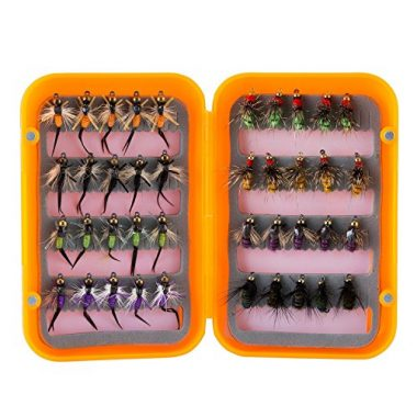 Piscifun 12pcs Dry Flies/ 40pcs Wet Flies Fly Fishing Salmon Lure