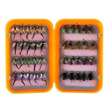Piscifun 12pcs Dry Flies/ 40pcs Wet Flies Fly Fishing flies Kit