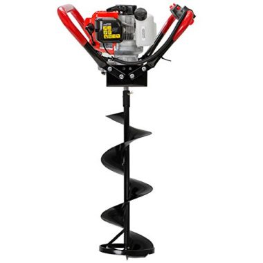 XtremepowerUS V-Type 55CC 2 Stroke Gas Ice Post Hole Digger W/10″ Ice Auger Bit