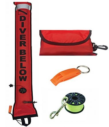 DiveSmart 5ft Scuba Diving Open Bottom Surface Marker Buoy