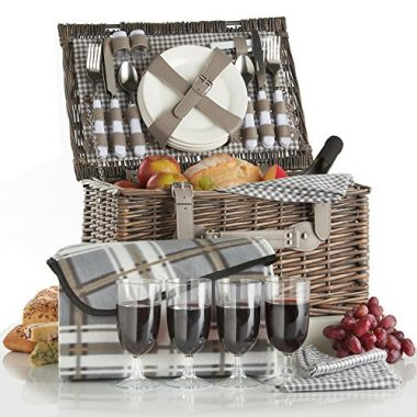 VonShef Deluxe Traditional Wicker Picnic Basket