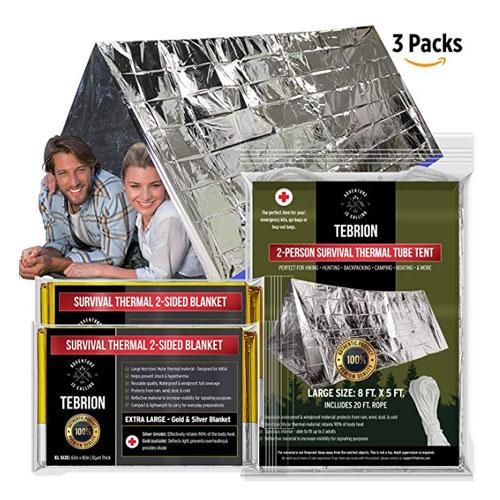 TEBRION Emergency 2-Adult Mylar Thermal Survival Shelter