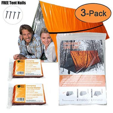Mylar Survival Shelter Tent for 2 Persons with Emergency Blankets