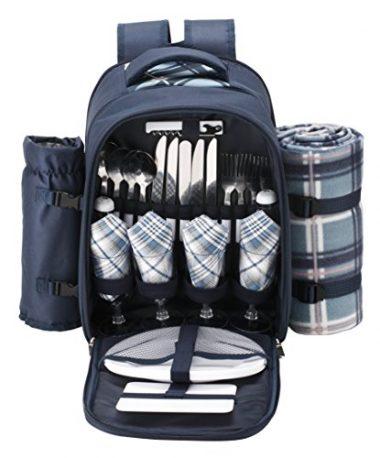VonShef – 4 Person Blue Tartan Picnic Backpack Bag