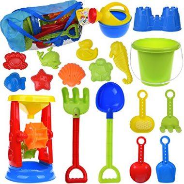 19 PCs Kids Beach Sand Toys Set Sand Water Wheel by FUN LITTLE TOYS