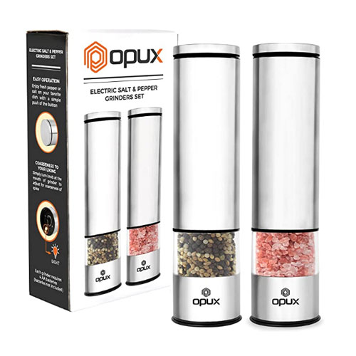 OPUX Battery Operated Salt and Pepper Grinder Set