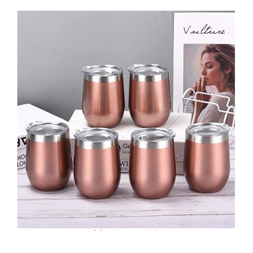 6 Pack 12Oz Stainless Steel Stemless Wine Tumbler