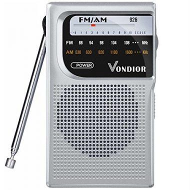 Vondior AM / FM Battery Operated Portable Pocket Radio