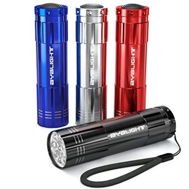 BYB Pack of 4, 9 LED Mini Aluminum Pocket Flashlight