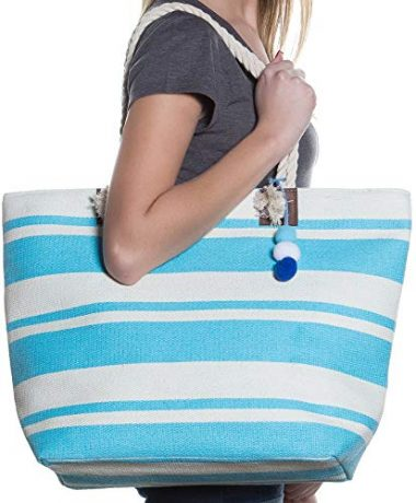 Beach Tote Bag with Top Zipper Closure By Pier 17