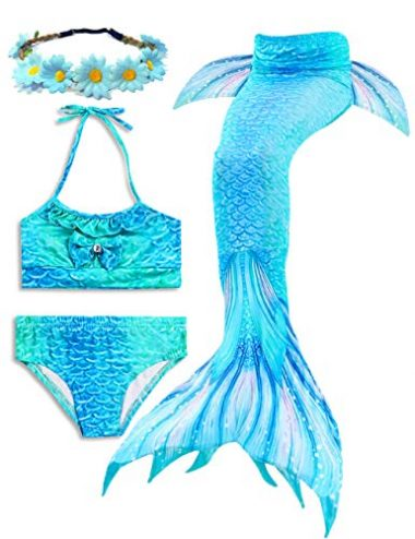 Girls Bikini Mermaid Swimsuits Mermaid Tails for Swimming Support Monofin