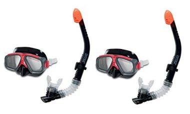 Intex Surf Rider Swimming & Diving Mask Snorkel Set for Ages 8+, Red