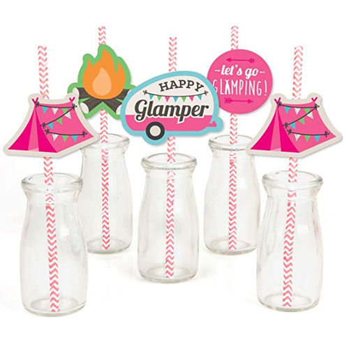 Big Dot of Happiness Let's Go Glamping Paper Straw Decor