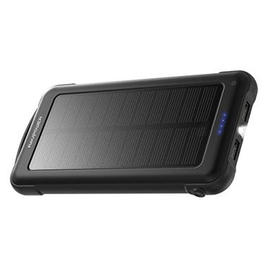 RAVPower Solar Charger 10000mAh Power Bank with LED Flashlight